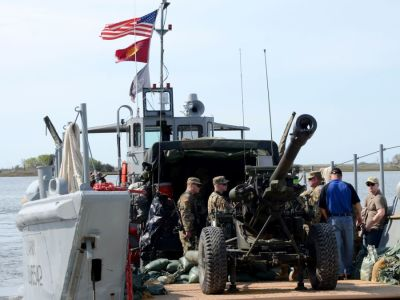 Artillery booms from Army landing craft for first time in decades